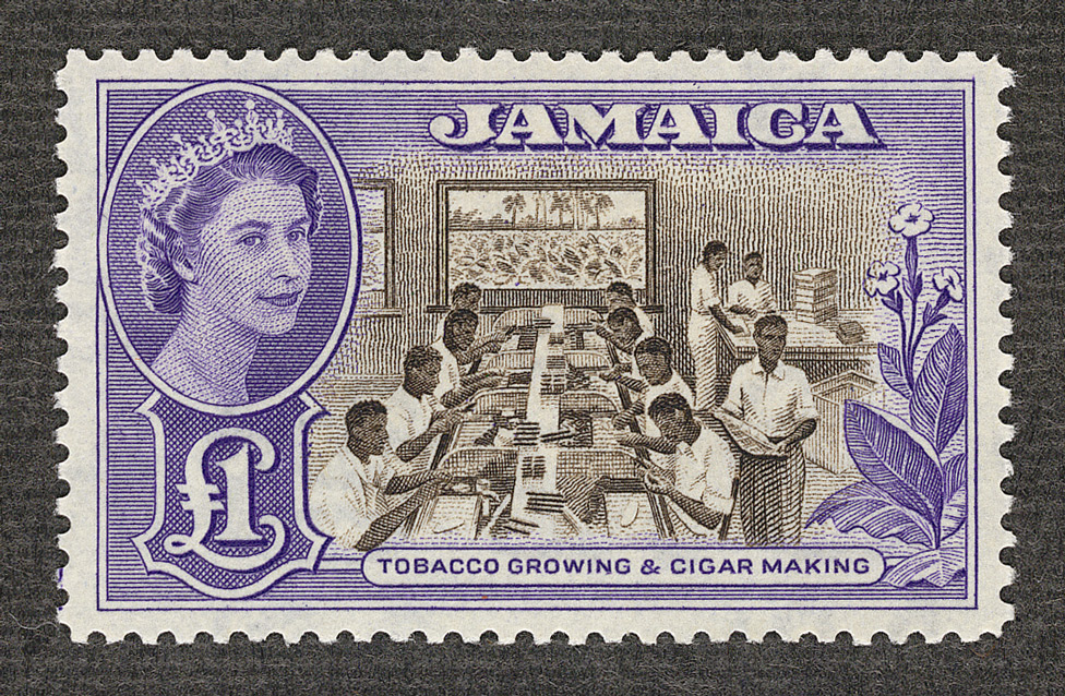Jamaica: 1956-58 £1 chocolate and violet, unissued.